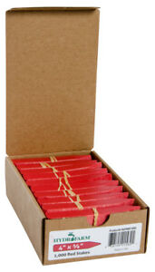 "Hydrofarm Plant Stake Labels - Tags, Red, 4"" x 5/8"", Case OF 1000 BAY HYDRO $$"