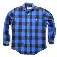 VTG St Johns Bay Mens Medium Blue Black Buffalo Plaid Button Up Cotton Flannel