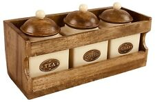 Wooden Rack 3 Ceramic Jars & Lids Coffee Tea Sugar Jar Wall Mount Stand