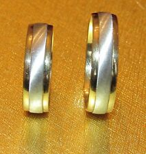 BEAUTIFUL SECONDHAD B.BROSS 9ct TWO COLOUR GOLD WEDDING BAND SETS RING SIZE R&Y