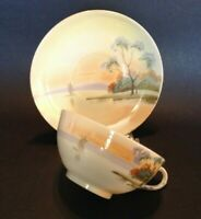 Nippon Tea Cup And Saucer - Hand Painted Tree In The Meadow And Sailboat - Japan
