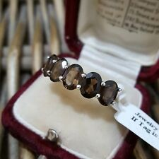 STERLING SILVER RING, HALF ETERNITY, SMOKY QUARTZ GEMS, SIZE P, BNWT