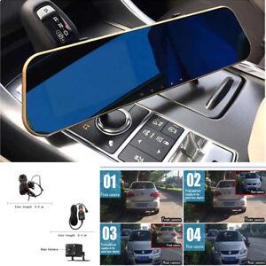 "Car 1080P Dual Lens Mirror Rearview Reverse Backup 4.3"" Video Recorder Night"