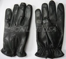 Men's Leather Zipper Driving Lambskin Gloves Motorcycle Biker Unlined