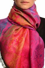 Large Ombre Paisley and Diamond On Magenta Pashmina With Tassels (SF002676)