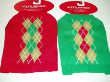 CHRISTMAS Red or Green Argyle Dog Sweater Puppy Small New