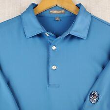 PETER MILLAR Size Large Summer Comfort Mens Golf Polo Shirt Blue Indian Head