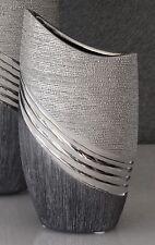 Moderne Dekovase Blumenvase Tischvase aus Keramik silber/grau Höhe 20 cm