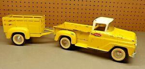 Vintage Tonka Yellow Pressed Steel Toy Stepside Pick-Up Truck with Trailer