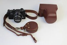 Fashion Genuine Real Leather Camera Bag Case Cover For Olympus Pen-F Coffee