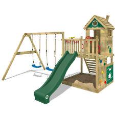 WICKEY Smart Lodge 120 Stelzenhaus Spielturm Kletterturm Schaukel grüne Rutsche