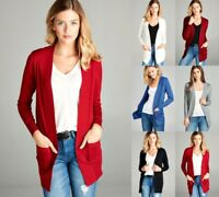 Women's Cardigan Long Sleeve Open Front Draped Sweater Rib Banded w/ Pockets S-L