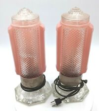 Mid Century Modern Pink Glass Bedroom Boudoir Bullet Torpedo Wall Table Lights