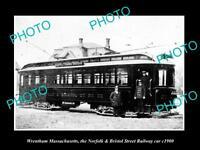 OLD LARGE HISTORIC PHOTO OF WRENTHAM MASSACHUSETTS, THE N&B RAILROAD CAR c1900