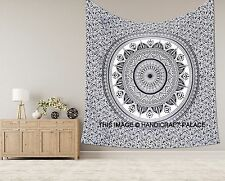 """Exclusive """"Black and White Ombre Tapestry Mandala King Tapestry Indian Bedspread"""