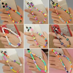 Phone Strap Lanyard Colorful Beads Pearl Rope Hanging Cord Mobile Accessories