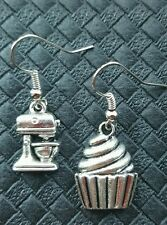 VINTAGE MIX MASTER & CUPCAKE EARRINGS ROCKABILLY DERBY KITCHENAID BAKING SUNBEAM