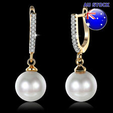 Simple Style Pearl Hoop Dangly Earrings Wholesale 18K Yellow Gold Filled Classic