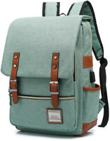 Vintage Laptop Backpack with USB Charging Port, Elegant Water Resistant 15.6Inch
