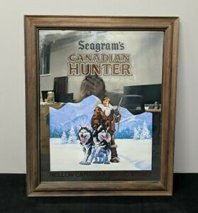 Seagram's Canadian Hunter Mellow Sipping Whisky Mirror Whiskey Bar Sign Ad Frame