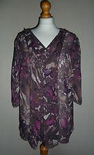 M&S Per Una Brown Purple & Pink Semi Sheer Top Blouse Plus Size 20 BNWT