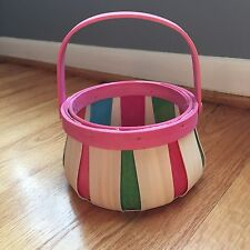 Multi-colored round Woven Basket with movable Handle Pink blue orange green