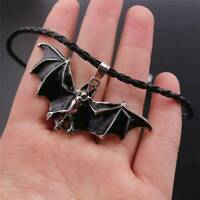 Hot Punk Leather Rope Enamel Bat Pendant Necklace Gothic Jewelry Halloween Gifts