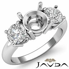 3 Stone Engagement Ring Round Natural Diamond Semi Mount 14k White Gold 0.75 Ct.
