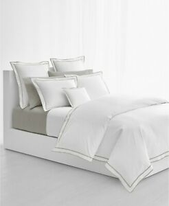 Lauren Ralph Lauren Spencer Cotton Sateen Border WHITE GRAY King Comforter NEW