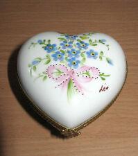 Limoges France Paris Style Porcelain Trinket Box Heart Shaped Bouquet