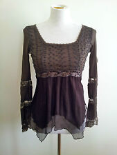 Effortless Chic! Emilio size 8 chocolate mesh long sleeve top with square neck