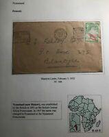 1952 Blantyre Limbe Nyasaland Cover Locally Used