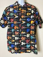 Vtg Gi Apparel Men Size L Black Guitar Pattern Shirt Short Sleeve USA Made