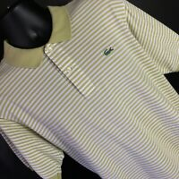 Lacoste Green Yellow White Short Sleeve Striped Casual Polo Golf Shirt Mens 7