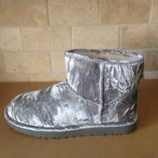 UGG Classic Mini Velvet Sheepskin Silver Boots Size US 9 Womens *RARE*