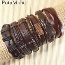 PotaMalat Handmade 6pcs Brown Genuine Leather Multilayer Bracelet For Men-D40