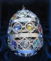 Ornament- Egg Oval- Austrian Crystals 24k silver plated -multi color- sparkly