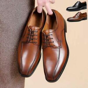 Men's Dress Shoes Business Lace Up Classic Square Toe Lace Up Faux Leather Shoes