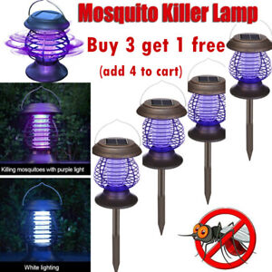 Solar Powered LED Mosquito Fly Bug Insect Zapper Killer Trap Lamp Light Outdoor