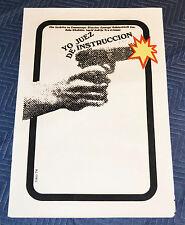 1974 Original Cuban Silkscreen Movie Poster.Juez de instruccion.Judge.Gun shot.