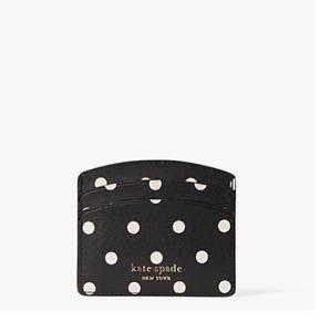 NWT Kate Spade SPENCER CABANA DOT Black Faux Leather Spade Logo Card Holder/Case