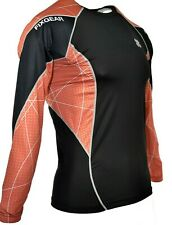 Bjj Mma Flexgear Black and Orange Gray Men's Long Sleeve Rashguard Large L T119