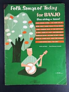 Folk Songs Of Today For Banjo (Five String Or Tenor) 1966 Sheet Music Book
