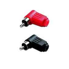 2 Fiches RCA Mâle 2 Couleurs Noir et Rouge Coudées 90° Connections  à Souder