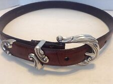 Coldwater Creek Women's Brown Leather Ornate Metal Belt Size Medium