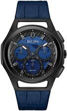 Bulova 98A232 Men's Curv Transparent Blue Dial Chronograph Leather Watch