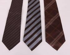 HERMES+YSL+GIVENCHY Designer Mens TIE LOT x3 Brown Striped Plaid Silk Necktie