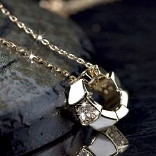 18K YELLOW GOLD MADE WITH SWAROVSKI CRYSTAL RING ROUND CIRCLE PENDANT NECKLACE