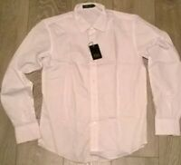 2 x mens white long sleeve office work shirt, double cuff, NEW Size small