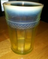 "Mosser Glass Co., 4¼"" Vaseline Opalescent Tumbler Yellow / Green"
